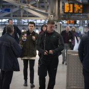 Passenger showing train ticket