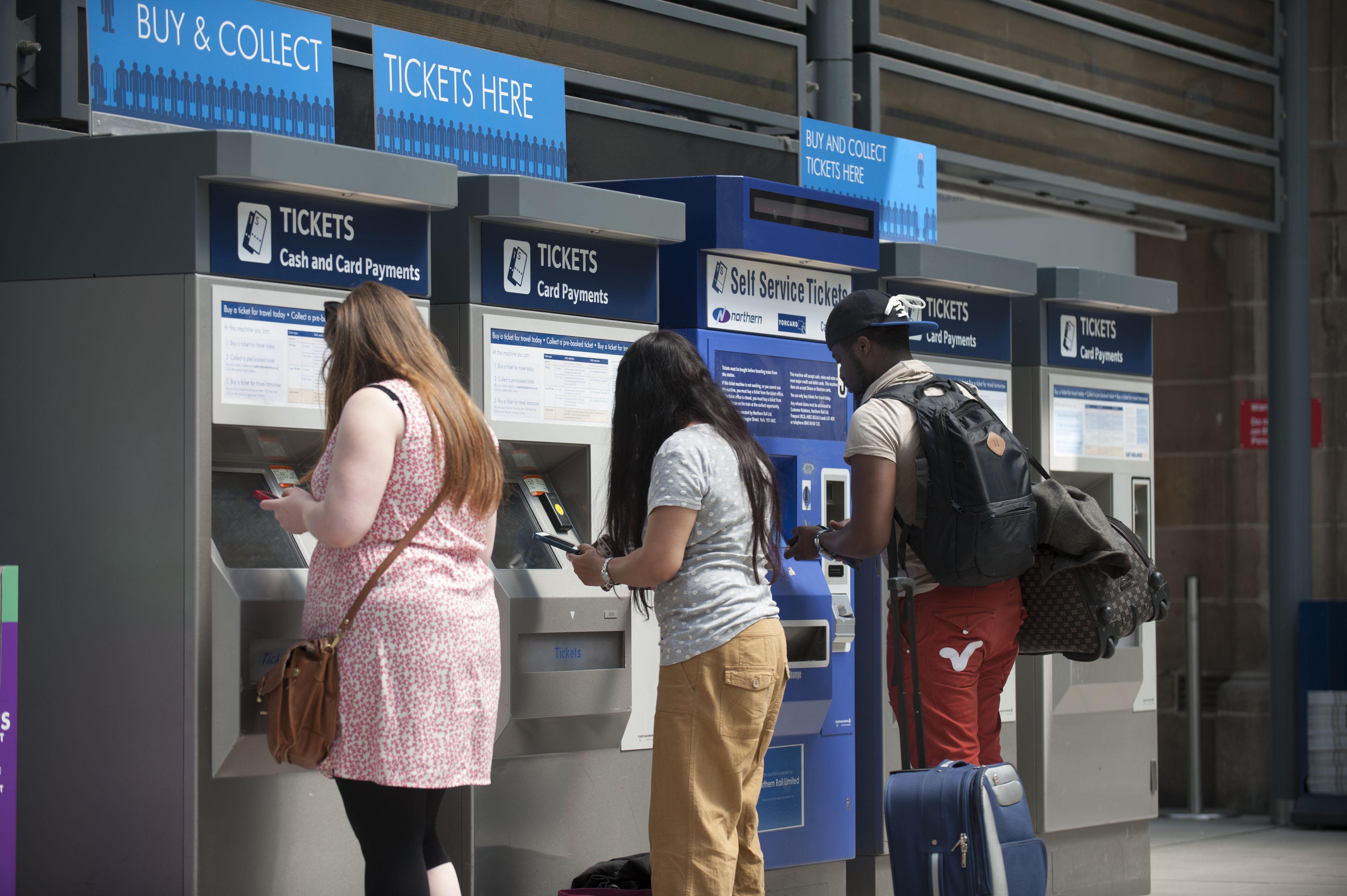 Passenger buying ticket